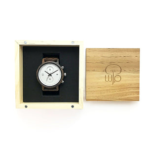 Wooden Watch Box Gift - The Tsusiat Minimalist Chrono Wood Watch Packaging