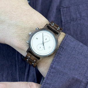 Minimalist Chronograph White Dial Chrono - The Tsusiat Steel and Wood Watch on Wrist