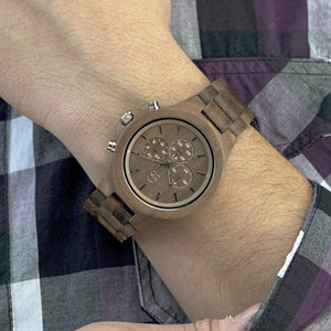 Chronograph Wood Watch For Men - The West Coaster Walnutwood Watch Wrist Shot