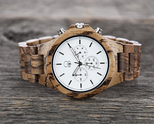 Zebrawood Watch Mens Chrono Wood Watch - The Pacific Crest Cover