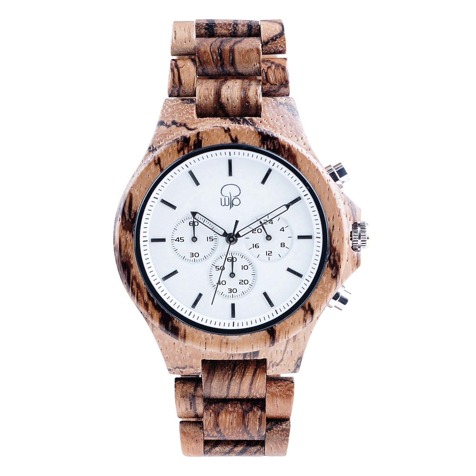 Zebrawood Watch Chrono Wood Watch Mens Arctic White - The Pacific Crest Front View