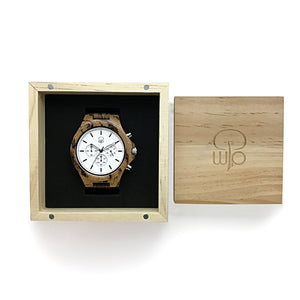Wood Watch Box Gift - The Pacific Crest Chronograph Wooden Watch White Dial Packaging