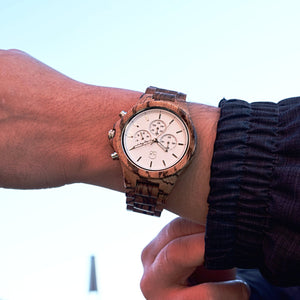 Wood Chronograph Zebrawood Watch White Dial - The Pacific Crest Wooden Chronograph Wrist Shot