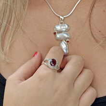 Load image into Gallery viewer, garnet sterling silver boho style ring