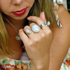 rainbow moonstone sterling silver teardrop gemstone bohemian gypsy style ring