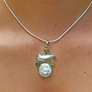 biwa pearl and peridot sterling silver pendant