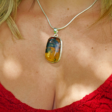Load image into Gallery viewer, amber rectangle sterling silver pendant