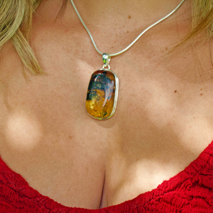amber rectangle sterling silver pendant