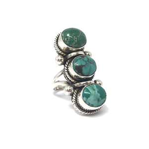statement silver turquoise boho style ring
