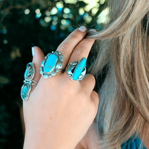 navajo style boho turquoise sterling silver ring