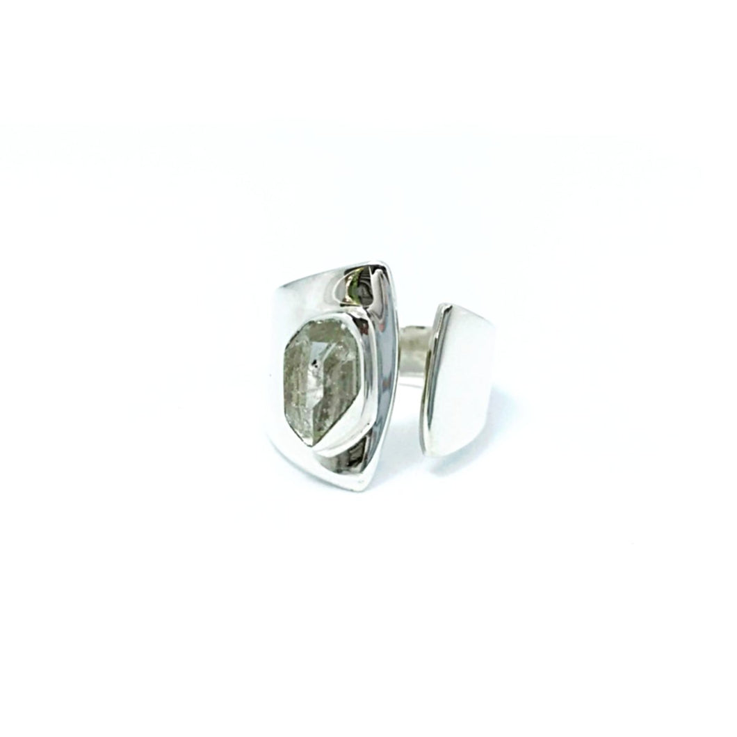 Quartz Clear Raw Cut Ring Sterling Silver - Quirky Pieces