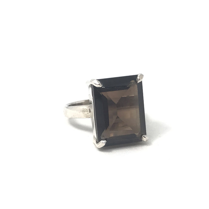 smoky quartz silver gypsy style ring