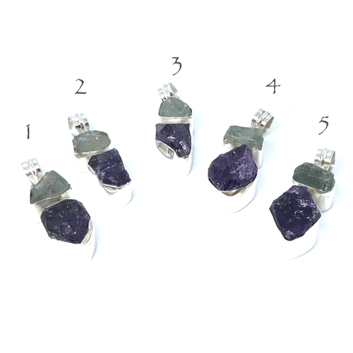 Aquamarine Amethyst Pendant Set In Sterling Silver - Stoned Hilda Discover the soul of Gemstones