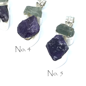 Aquamarine Amethyst Pendant Set In Sterling Silver - Quirky Pieces