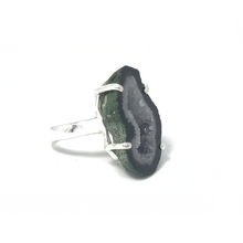 Load image into Gallery viewer, purple green raw agate boho style silver ring