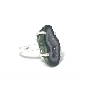 purple green raw agate boho style silver ring