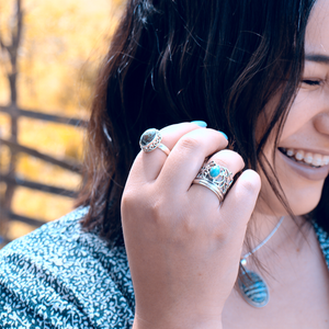 Crown Turquoise Spinning Ring