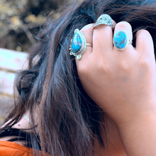 Load image into Gallery viewer, Bohemian Turquoise Teardrop Silver Ring