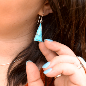 turquoise triangle silver gemstone earrings