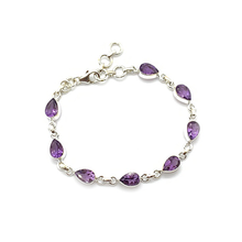 Load image into Gallery viewer, amethyst gemstone sterling silver teardrop bracelet bangle