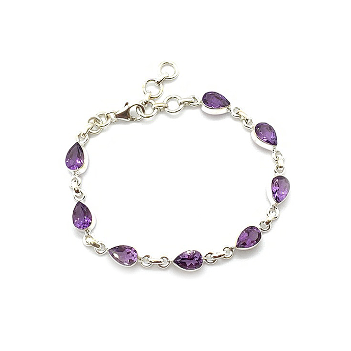 amethyst gemstone sterling silver teardrop bracelet bangle
