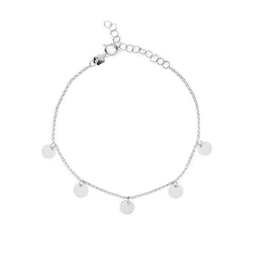 sterling silver circle moon anklet gypsy boho style