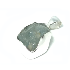 raw aquamarine gem pendant sterling silver