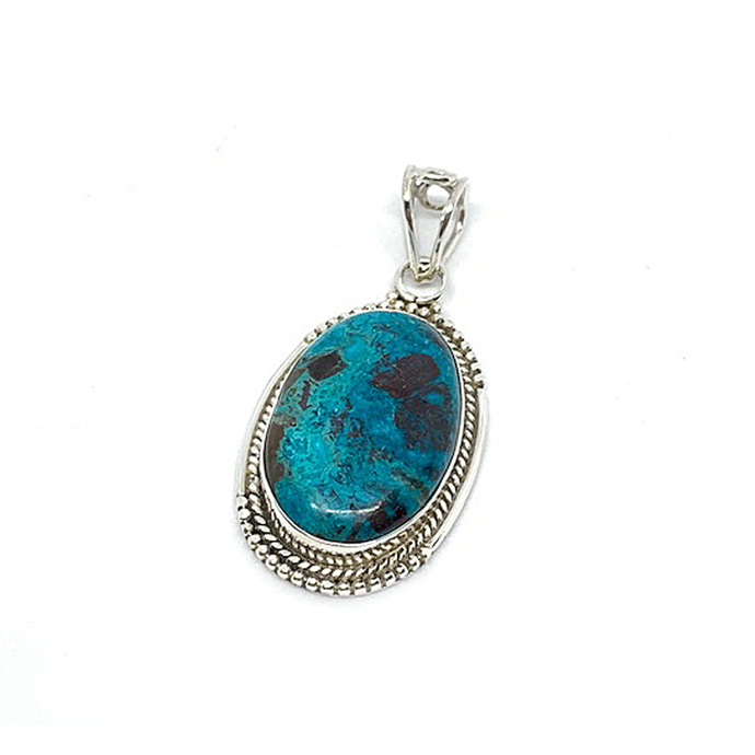 blue azurite sterling silver oval pendant