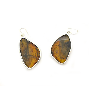 amber earrings set in sterling silver