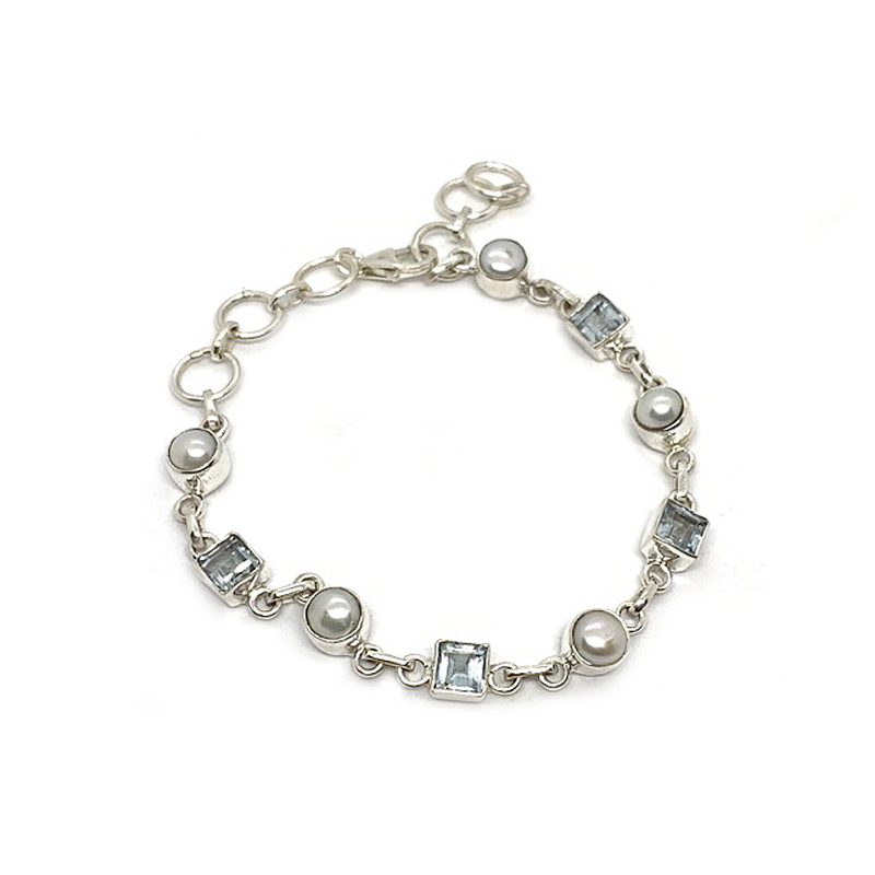pearl blue topaz sterling silver bracelet bangle