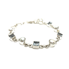 Load image into Gallery viewer, pearl blue topaz sterling silver bracelet bangle