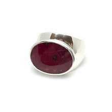 Load image into Gallery viewer, big statement silver ruby gemstone ring