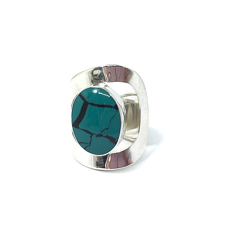 silver turquoise stone ring gypsy style