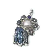 Load image into Gallery viewer, freshwater black and pink pearl with amethyst sterling silver pendant