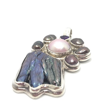Load image into Gallery viewer, pink pearl with black pearl and amethyst pendant silver