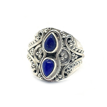Load image into Gallery viewer, lapis lazuli silver gypsy style gemstone ring