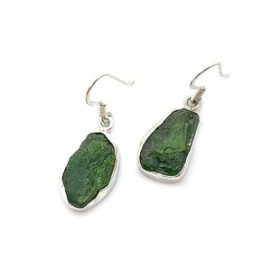 green chrome diopside rough stone sterling silver earrings