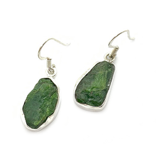 Load image into Gallery viewer, green chrome diopside rough stone sterling silver earrings