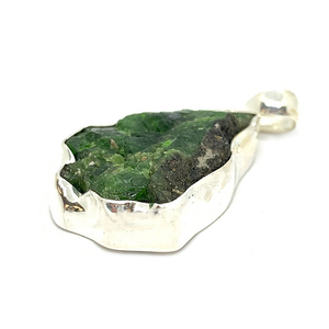 chrome diopside raw rough sterling silver pendant