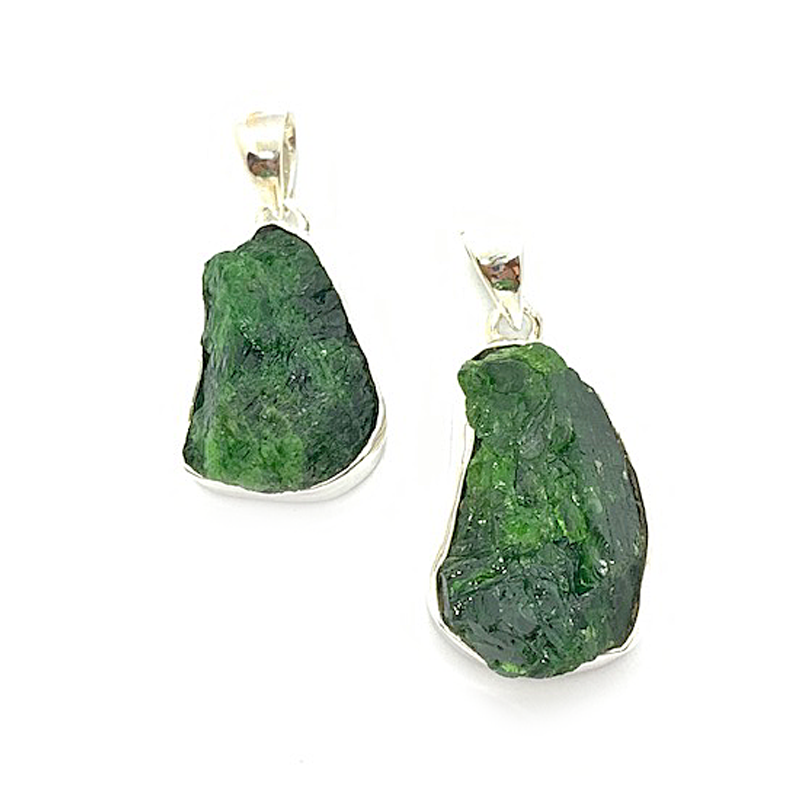 green rough chrome diopside gemstone sterling silver pendant