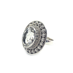 clear quartz sterling silver boho style ring