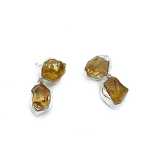 Load image into Gallery viewer, raw citrine double stud silver gemstone earrings