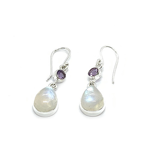 moonstone amethyst sterling silver gemstone earrings