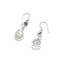Load image into Gallery viewer, moonstone amethyst sterling silver gemstone earrings