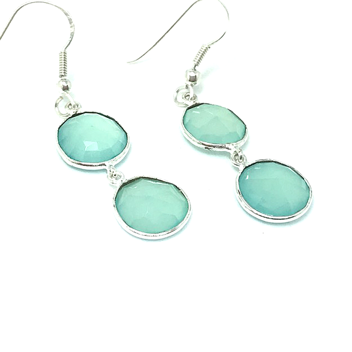 chalcedony silver gypsy style earrings