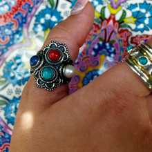 Load image into Gallery viewer, multi stone turquoise lapis lazuli pearl coral ring boho style