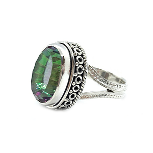 mystic topaz oval sterling silver ring
