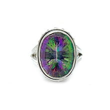 Load image into Gallery viewer, mystic topaz oval sterling silver ring