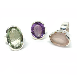 green amethyst purple amethyst rose quartz silver gemstone statement chunky ring