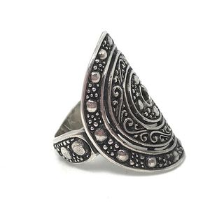 handmade statement silver boho ring